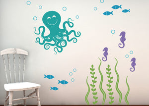 Sea Ocean Friends Wall Decal Set - Octopus Set