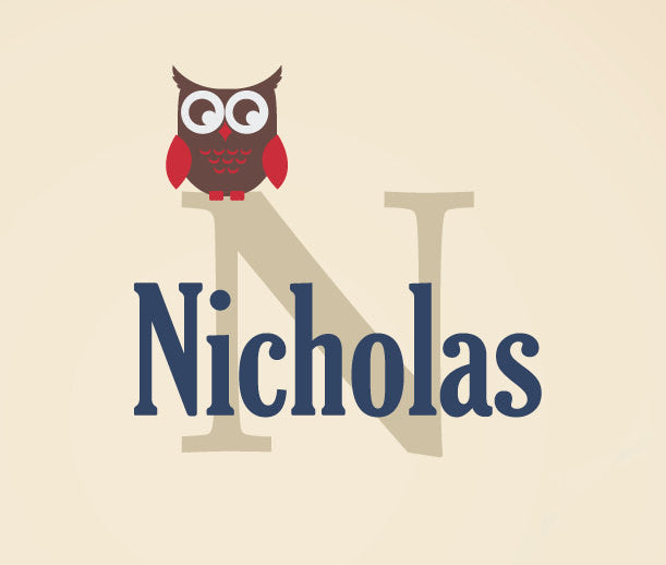 Owl with Name and Monogram Wall Decal Set