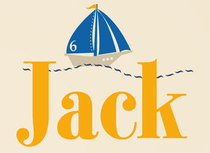 Name with Preppy Sailboat Wall Decal Set