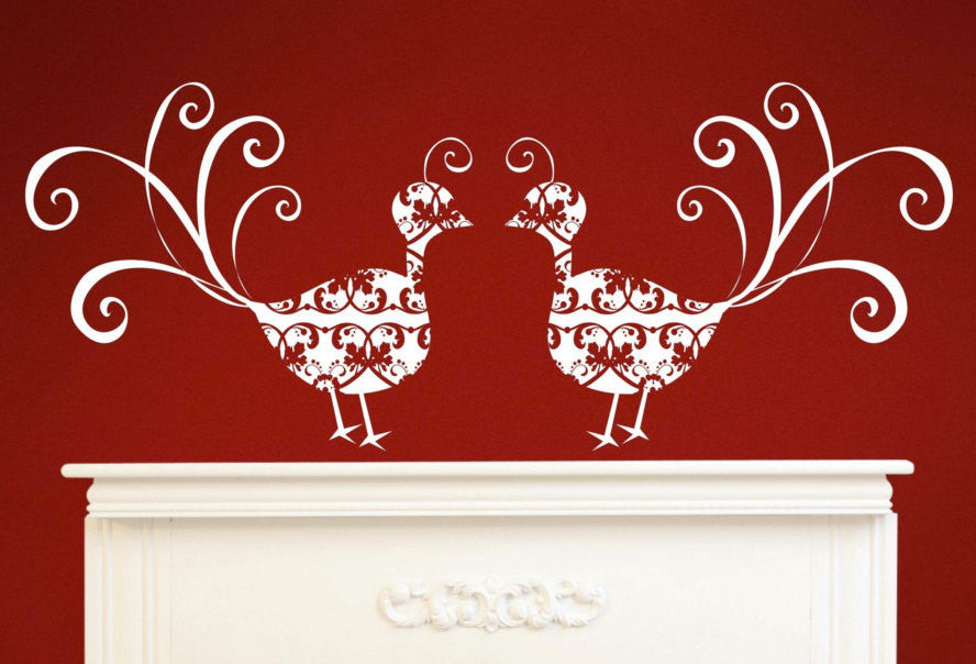 Victorian Peacock Vinyl Wall Decal - Set of 2