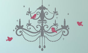 Chandelier with Birds Vinyl Wall Decal