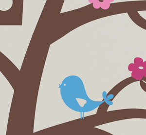 Sweet Birds Tree with Flowers Wall Decal Set