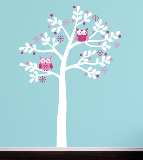 Retro Owl Tree Wall Decal Set