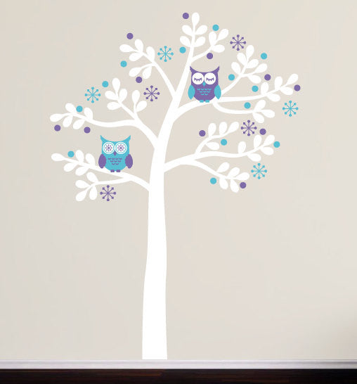 ... Retro Owl Tree Wall Decal Set ...