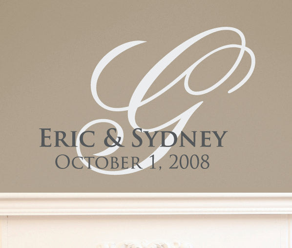 Custom Wedding Monogram Vinyl Wall Decal