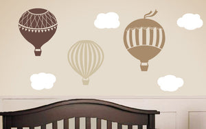 Hot Air Balloon Vinyl Wall Decal Set - Large Size