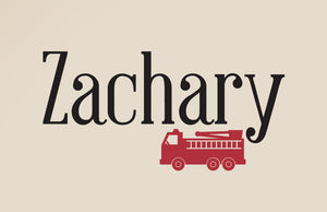Name And Fire Truck Wall Decal Set