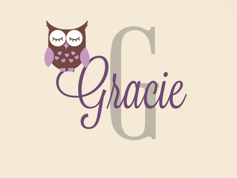 Sleepy Owl with Script Name & Monogram Wall Decal Set
