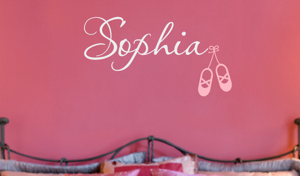 Name with Ballet Slippers Wall Decal Set