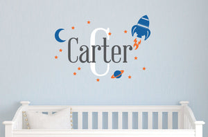 Name Decal with Space Rocket Set