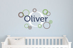 Name Decal & Monogram Set with Retro Circles