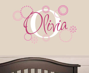 Name Decal with Retro Circles Set