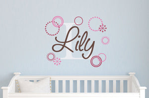 Name Decal Set with Retro Circles