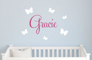 Butterfly Name Wall Decal Set