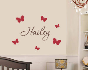 Name with Butterflies Decal Set