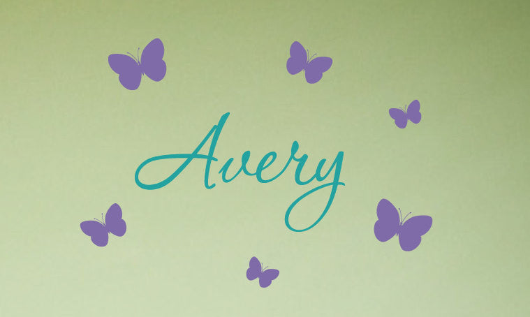 Name and Butterflies Wall Decal Set