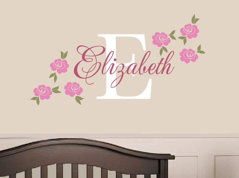 Rose name decal custom vinyl decal girl nursery children