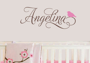 Swirly Name Decal with Bird
