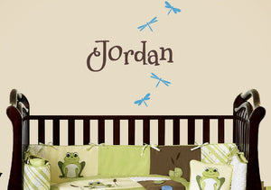 Name and Dragonflies Wall Decal Set