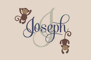 Name with Monogram and Monkeys