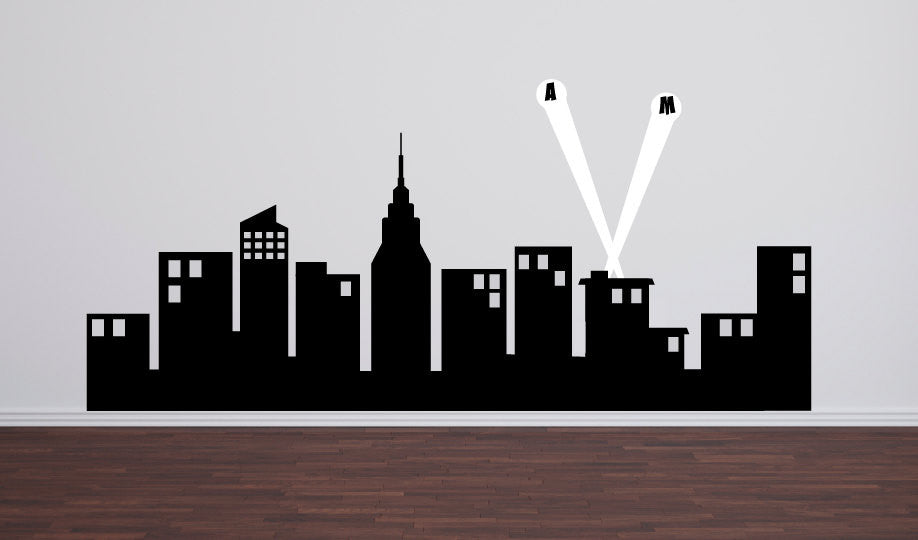 Super Hero City Skyline Wall Decal 60 Quot Wide Tweet