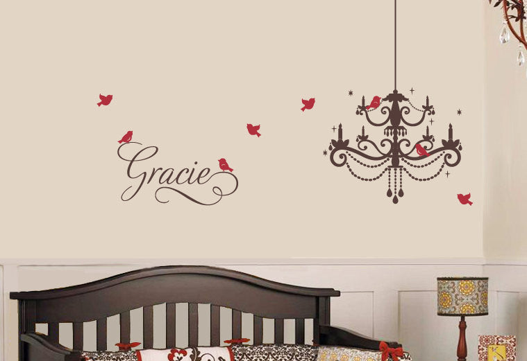 Swirly Name and Chandelier with Birds Wall Decal Set