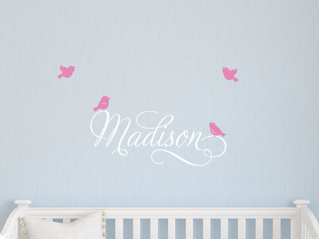 Swirly Name Decal with 4 Little Birds