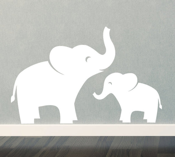 Mom & Baby Elephant Wall Decal Set
