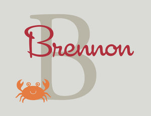 Name Decal with Monogram and Crab