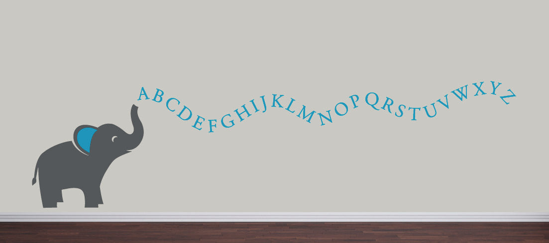 Alphabet Elephant Vinyl Decal Set