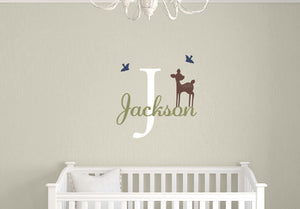 Name Decal Set with Fawn & Birds