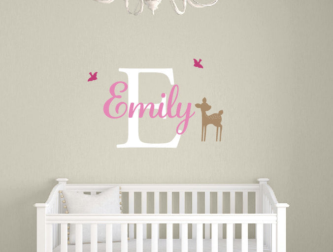 Fawn with Birds Name & Monogram Set