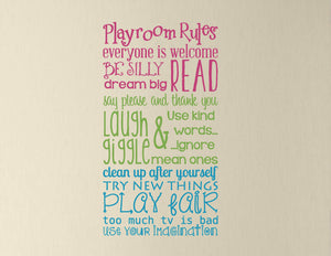 Playroom Rules Wall Decal