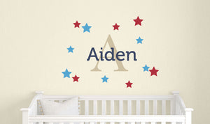 Name Decal with Monogram and Stars