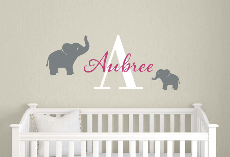 Name Monogram With Elephants Wall Decal Set Tweetheartwallart - Elephant wall decals
