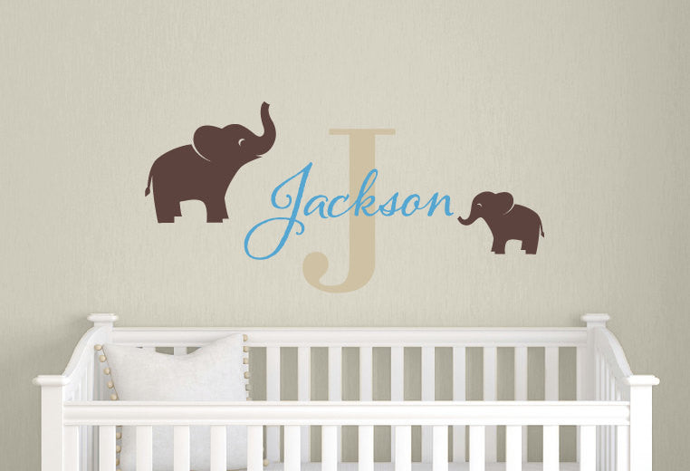 Name & Monogram with Elephants Wall Decal Set