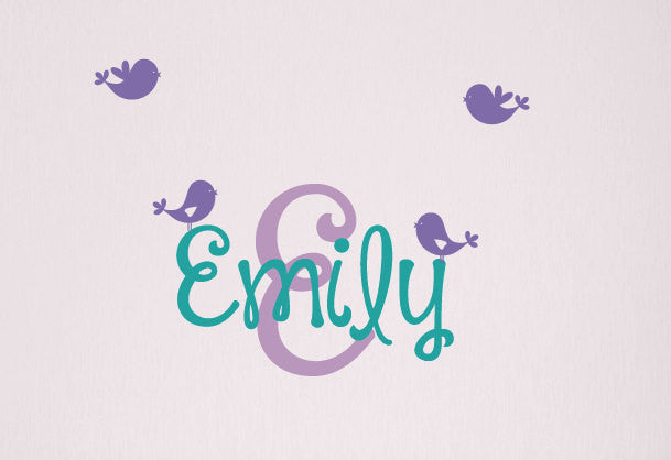 Name & Monogram with Birds Wall Decal Set