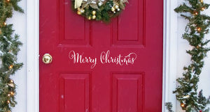 Merry Christmas Door Decal - Vinyl Decal