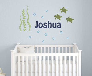 Name Decal Set with Sea Turtles