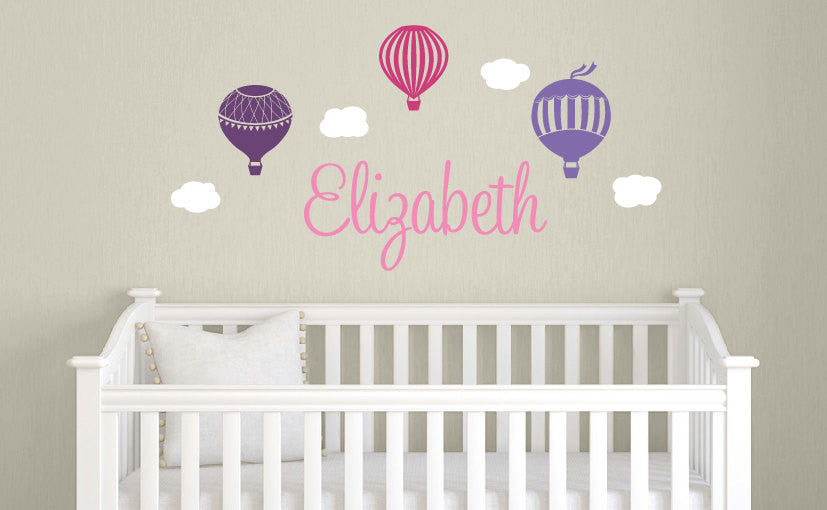 Name & Hot Air Balloons Wall Decal Set