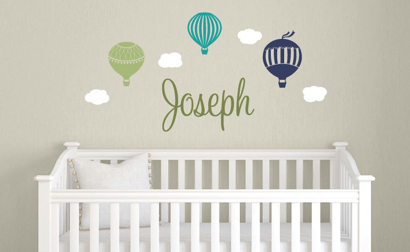 Awesome Name U0026 Hot Air Balloons Wall Decal ...