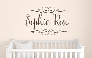 Name Decal with Swirly Scrolls