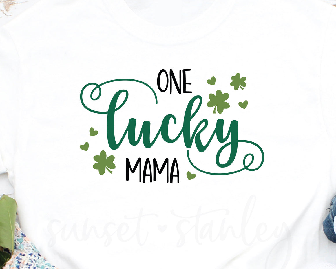 One Lucky Mama SVG File, St Patrick's Day Cutting File - SVG, EPS, DXF, PNG - Instant Download