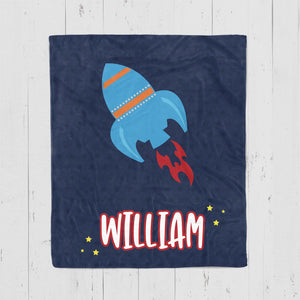 Kids Personalized Blanket with Rocket, Space Themed Blanket for Boys