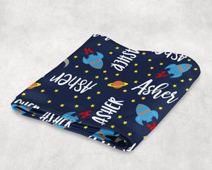 Personalized Baby Blanket with Space Rockets