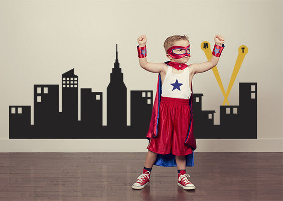 "Super Hero City Skyline Wall Decal - 60"" wide"