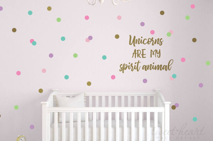 "2"" Unicorn Polka Dots Wall Decals - Set of 60"