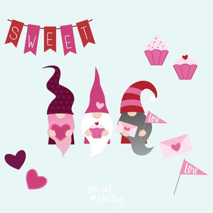 Valentine Gnomes Set, Cutting File - SVG, EPS, DXF, PNG - Instant Download