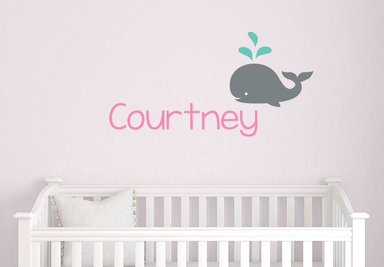 Name Wall Decal Set with Whale ...  sc 1 st  Tweet Heart Wall Art & Whale Name Decal Boy Nursery Decal Baby Name Decal Nautical ...