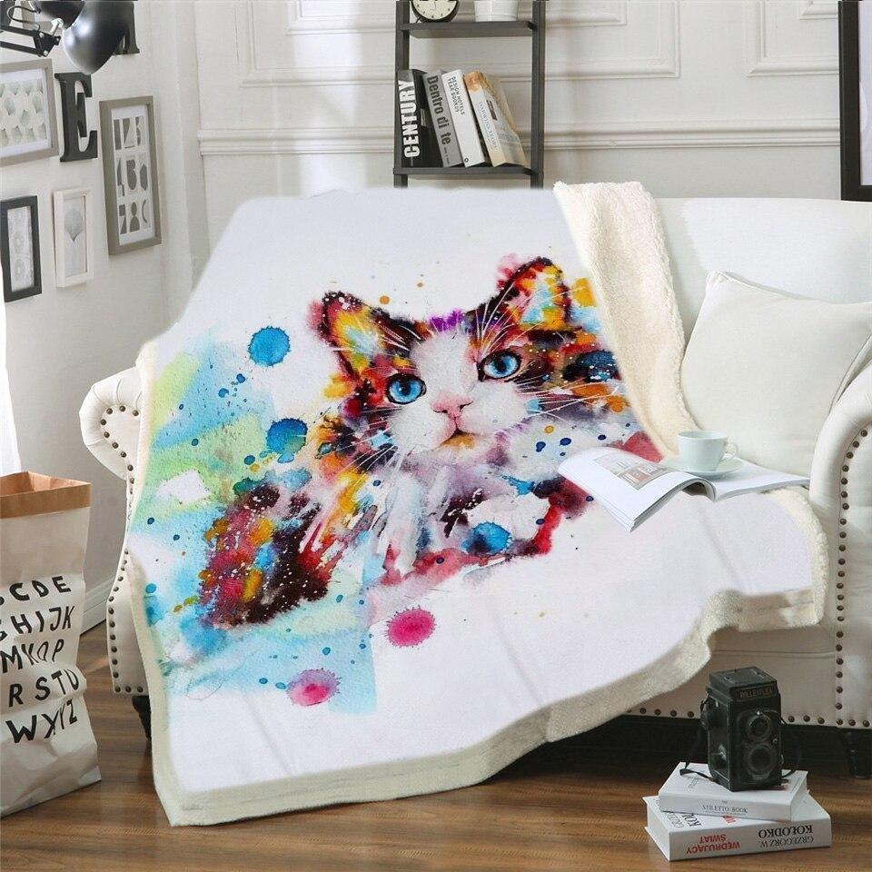 Cat Printed Throw Fleece Blanket